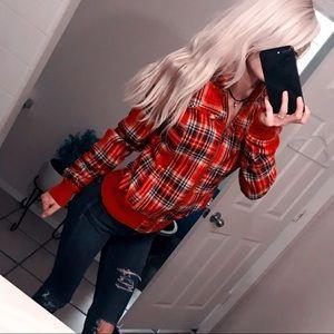 90s Vintage Red School Girl Plaid Jacket